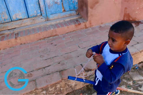 Little Boy Playing in Trinidad, Cuba