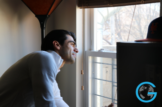 Young man with a window of opportunities